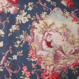 Tissu toile de Jouy Rochelambert Bleu