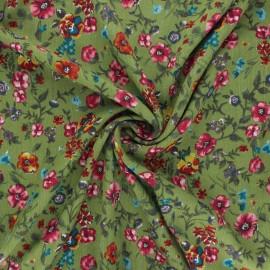 Lurex viscose crepe fabric - moss green Aline x 10cm