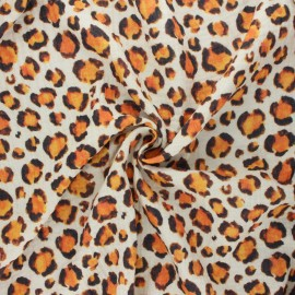 Double cotton gauze fabric - raw Leopard spots x 10cm
