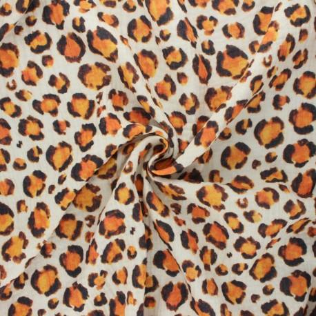 Tissu double gaze de coton Leopard spots - écru x 10cm