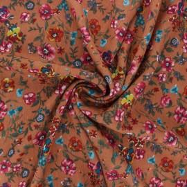 Lurex viscose crepe fabric - terracotta Aline x 10cm