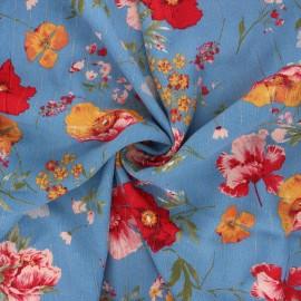 Lurex viscose crepe fabric - swell blue Amapola x 10cm