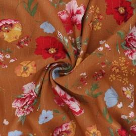 Lurex viscose crepe fabric - terracotta Amapola x 10cm