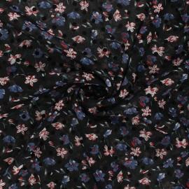 Tissu mousseline Windy flowers - bleu houle x 50cm