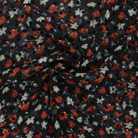Muslin fabric - red Windy flowers x 50cm