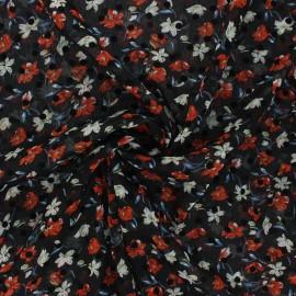 Tissu mousseline Windy flowers - rouge x 50cm