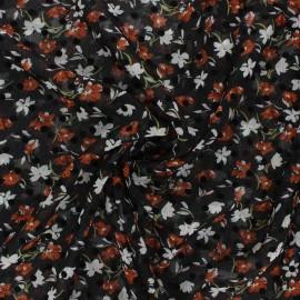 Tissu mousseline Windy flowers - orange x 50cm