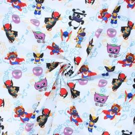 Tissu lycra maillot de bain Super animals - blanc x 10cm