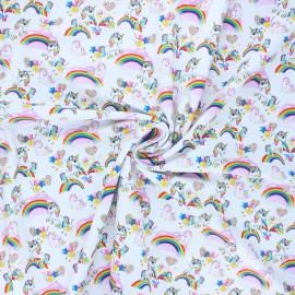 Tissu lycra maillot de bain Party unicorn- blanc x 10cm