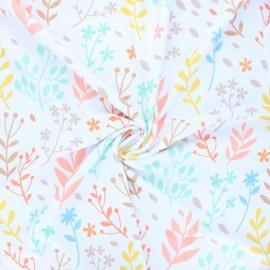 Tissu lycra maillot de bain Nature field - blanc x 10cm