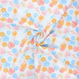 Swimsuit lycra fabric - raw Tropical leaves x 10cm
