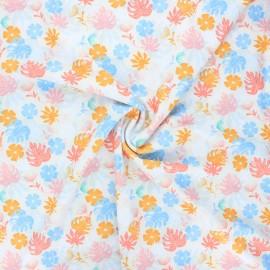 Tissu lycra maillot de bain Tropical leaves - écru x 10cm