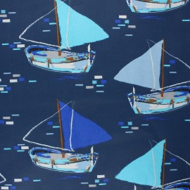 Coated cretonne cotton fabric - blue Olonne x 10cm