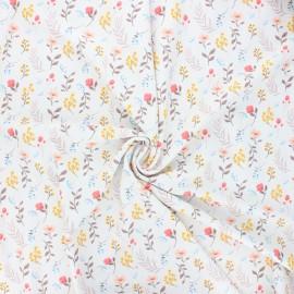 Tissu lycra maillot de bain Seasonal flowers - écru x 10cm