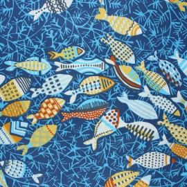 Coated cretonne cotton fabric - blue Bonites x 10cm