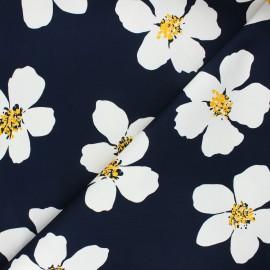 Tissu gabardine élasthanne Giant daisy - bleu nuit x 10cm