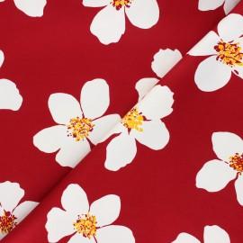 Tissu gabardine élasthanne Giant daisy - rouge x 10cm