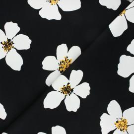 Tissu gabardine élasthanne Giant daisy - noir x 10cm
