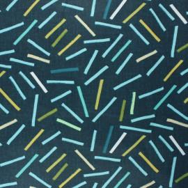 Coated cretonne cotton fabric - green 80's Sticks x 10cm