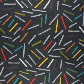 Coated cretonne cotton fabric - grey 80's Sticks x 10cm