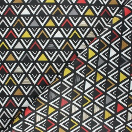 Coated cretonne cotton fabric - black Triangular x 10cm
