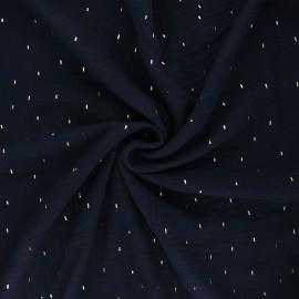Double gauze fabric - midnight blue Pluie dorée x 10cm