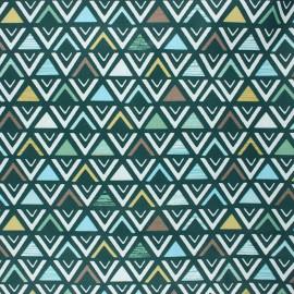 Coated cretonne cotton fabric - green Triangular x 10cm