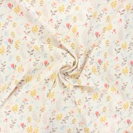 Tissu polyester Seasonal flowers - écru x 10cm