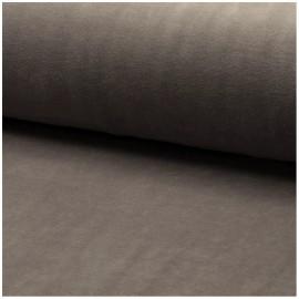 Tissu jersey velours éponge - taupe x10cm