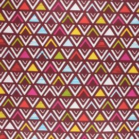 Coated cretonne cotton fabric - raspberry Triangular x 10cm