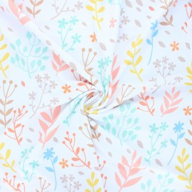 Polyester fabric - white Nature field x 10cm