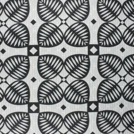 Coated cretonne cotton fabric - black Graphic shamrock x 10cm