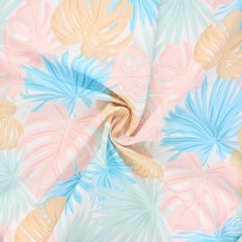 Tissu polyester Tropicali - blanc x 10cm