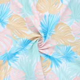 Tissu lycra maillot de bain Tropicali - blanc x 10cm