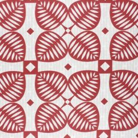 Coated cretonne cotton fabric - red Graphic shamrock x 10cm