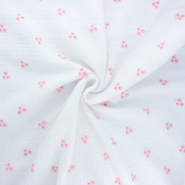 Tissu double gaze de coton Poppy Sweet flower - blanc x 10cm