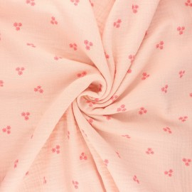 Tissu double gaze de coton Poppy Sweet flower - blush x 10cm