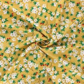 Rayon fabric - mustard yellow Cherry tree x 10cm