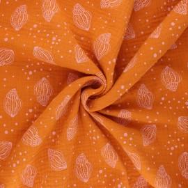 Poppy double gauze fabric - orange Shells x 10cm