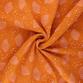 Tissu double gaze de coton Poppy Shells - orange x 10cm