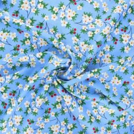 Rayon fabric - blue Cherry tree x 10cm