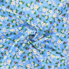 Tissu rayonne Cherry tree - bleu x 10cm