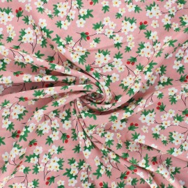 Rayon fabric - pink Cherry tree x 10cm