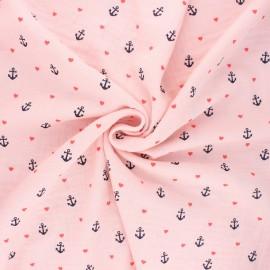Poppy double gauze fabric - baby pink Sweet marine x 10cm