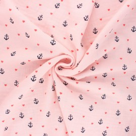 Tissu double gaze de coton Poppy Sweet marine - baby rose x 10cm