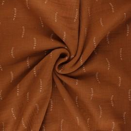 Poppy double gauze fabric - brown Stripes x 10cm