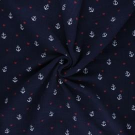 Tissu double gaze de coton Poppy Sweet marine - bleu nuit x 10cm
