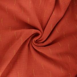 Poppy double gauze fabric - terracotta Stripes x 10cm