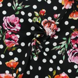Polyester crepe fabric - black Estepona x 10cm