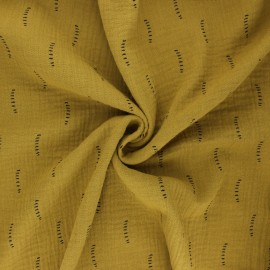 Tissu double gaze de coton Poppy Stripes - jaune curry x 10cm